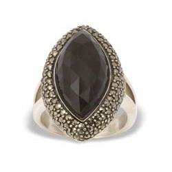 Marcasiet/Onyx facet Ring - 002923