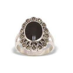 Marcasiet/Onyx glad Ring - 002153