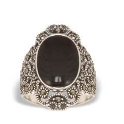 Marcasiet/Onyx glad Ring - 002154