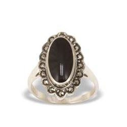 Marcasiet/Onyx glad Ring - 003044