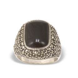 Marcasiet/Onyx glad Ring - 003098