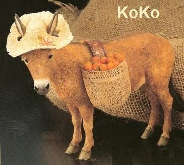 Donkey with straw hat
