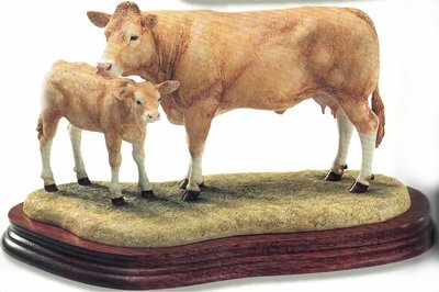 Blonde D'Aquitaine Cow & Calf - limited editon of 1250