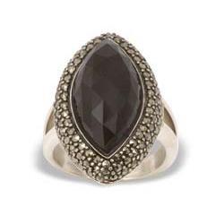 Marcasiet/Onyx facet Ring - 002923