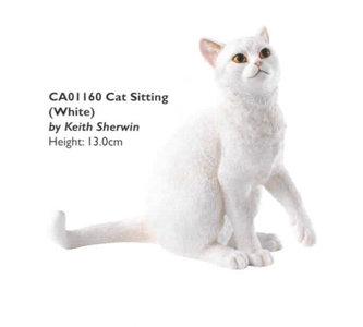 Cat sitting - White